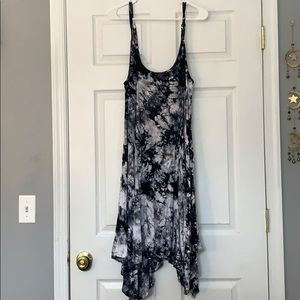Torrid Black White Tie Dye Spaghetti Strap Dress
